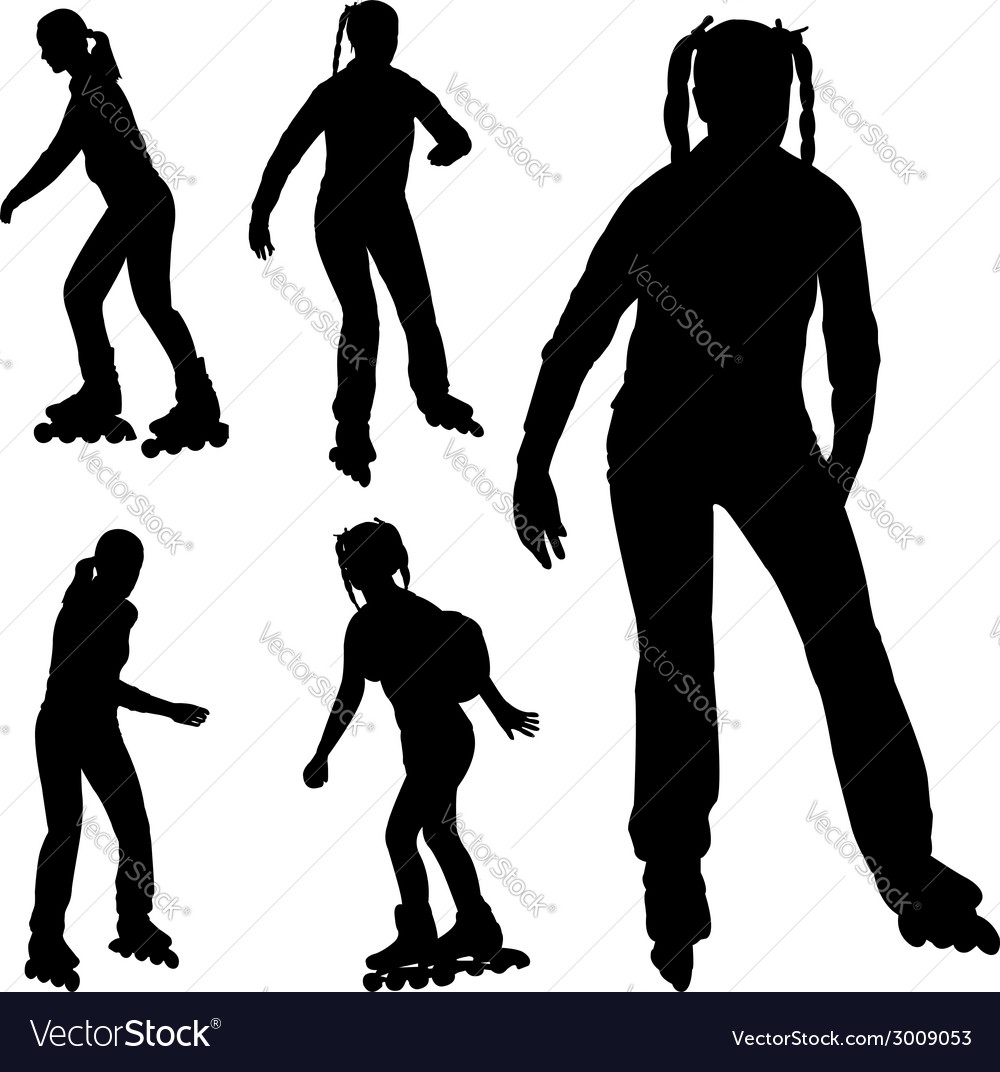 Rollerskating silhouettes vector | Price: 1 Credit (USD $1)