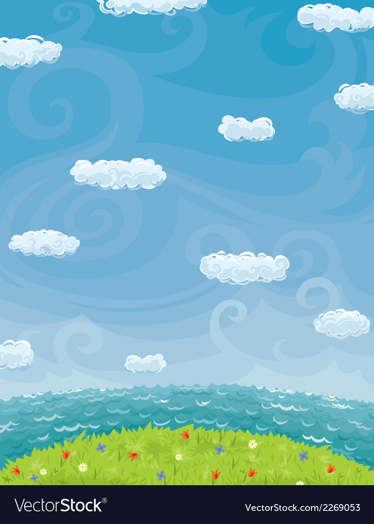 Summer background with cloudy sky sea and lawn vector | Price: 1 Credit (USD $1)