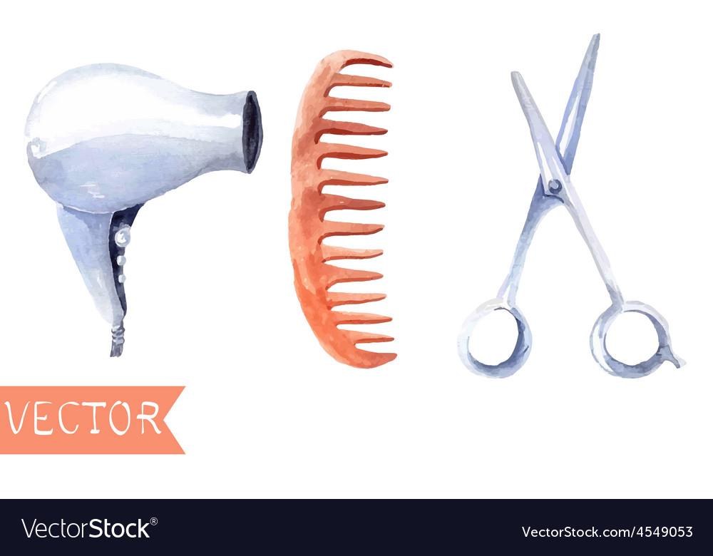 Watercolor hair dryers scissors and comb vector