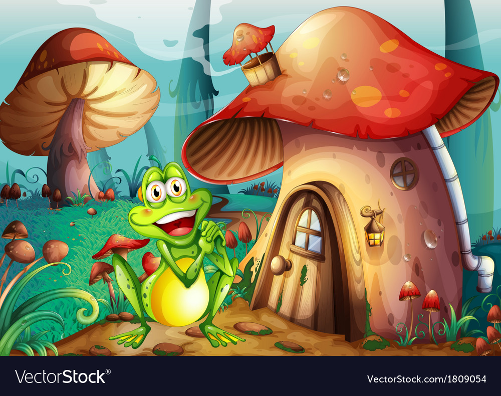A frog near the mushroom house vector | Price: 1 Credit (USD $1)