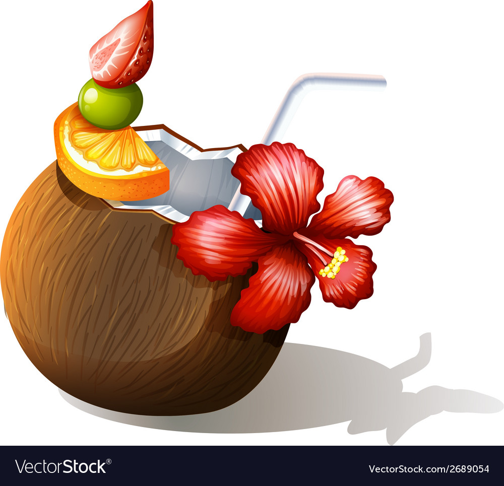 A refreshing beach drink vector | Price: 1 Credit (USD $1)