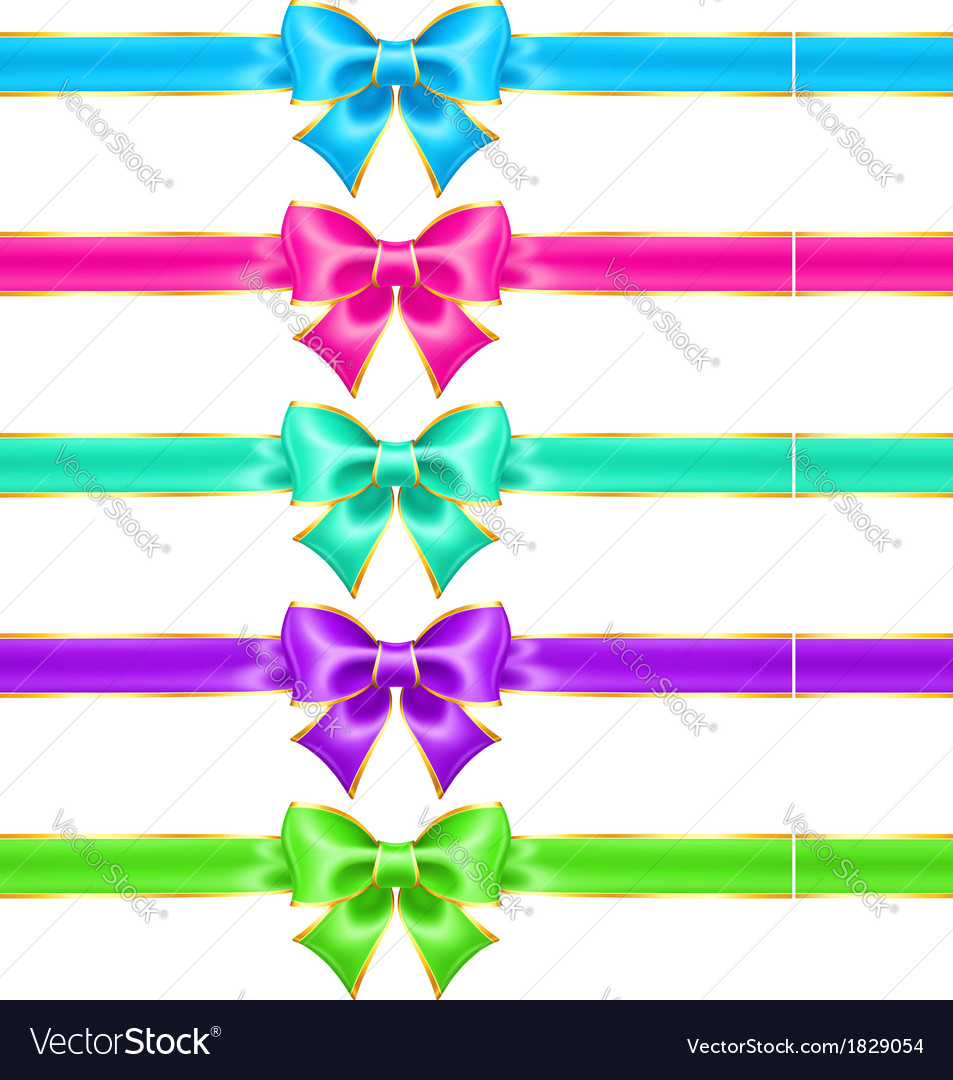 Bright holiday bows with gold border and ribbons vector | Price: 1 Credit (USD $1)