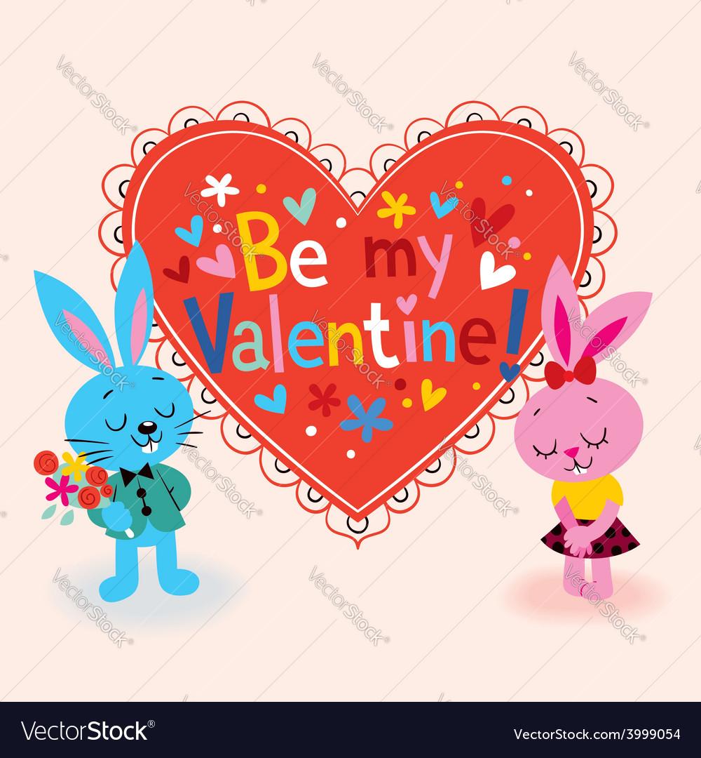 Bunnies in love valentine card vector | Price: 1 Credit (USD $1)