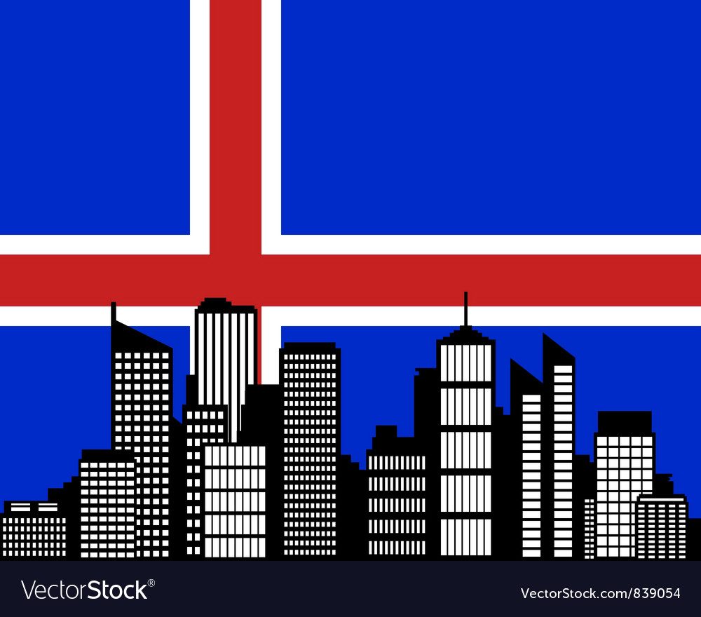 City and flag of iceland vector | Price: 1 Credit (USD $1)