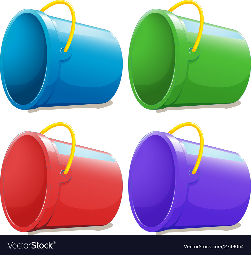 Four empty pails vector | Price: 1 Credit (USD $1)
