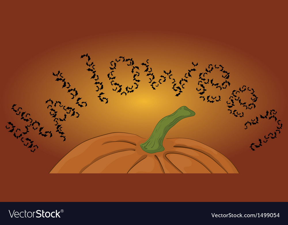 Halloween pumpkin and bats vector | Price: 1 Credit (USD $1)