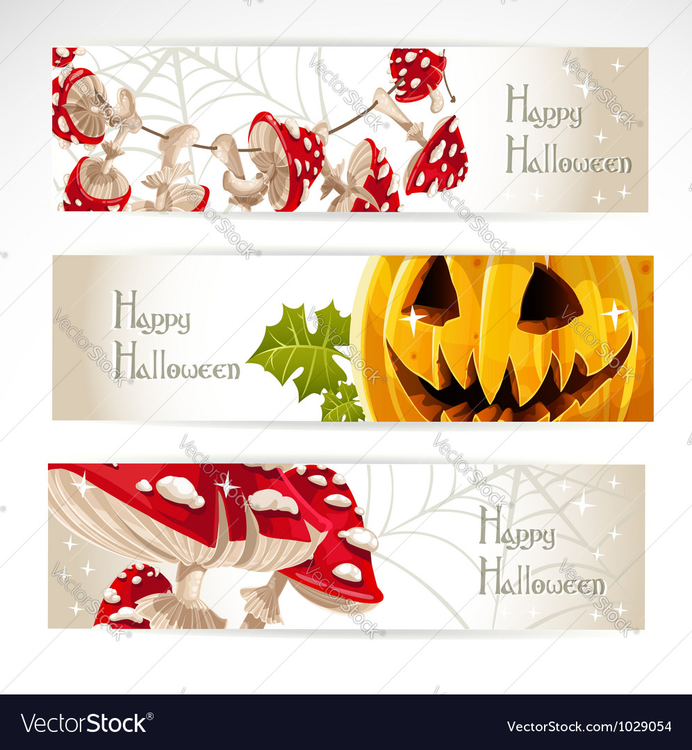 Happy halloween horizontal banner with mushroom vector | Price: 3 Credit (USD $3)