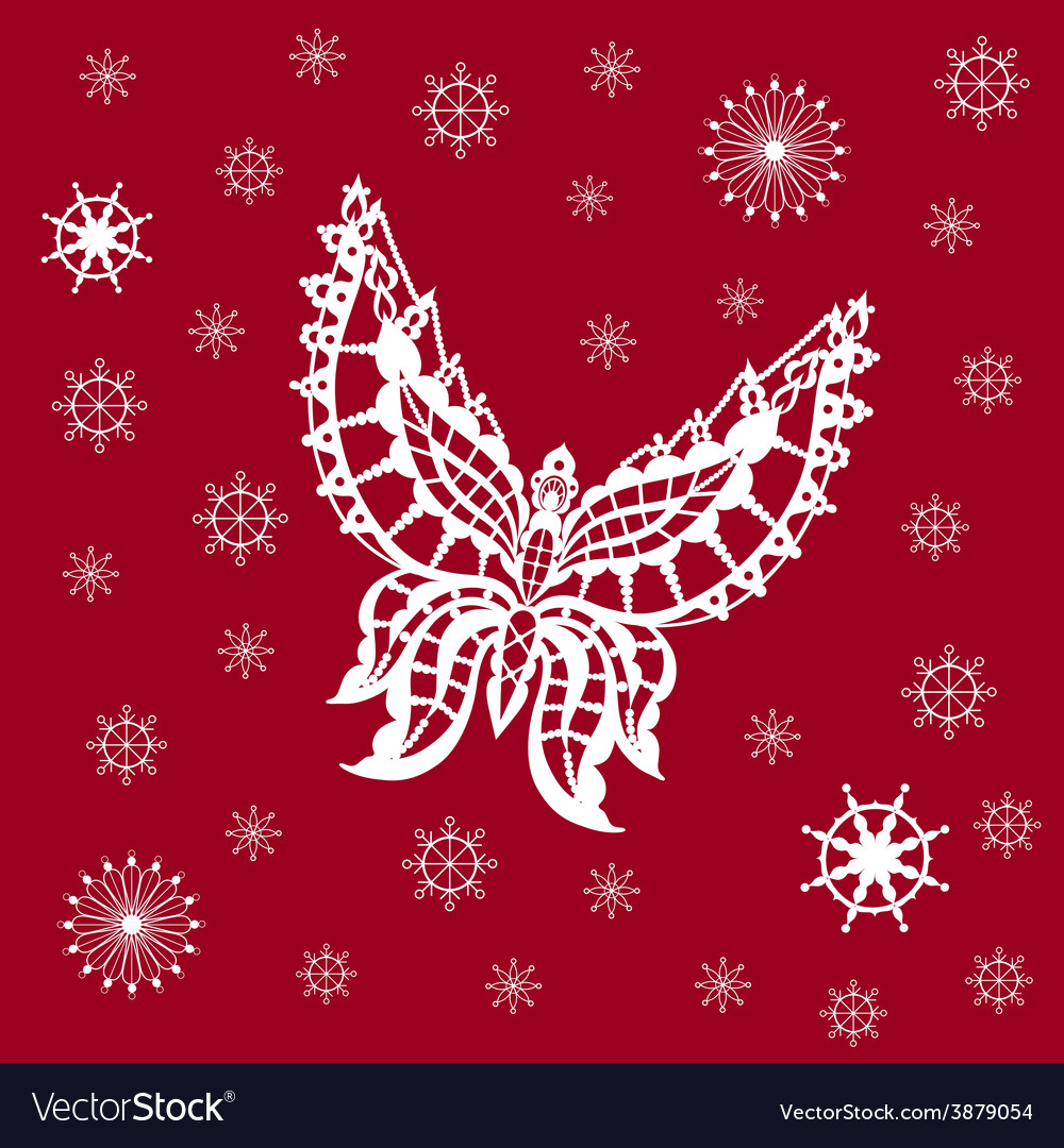 Ornamented abstract lace snowflake butterfly and vector | Price: 1 Credit (USD $1)