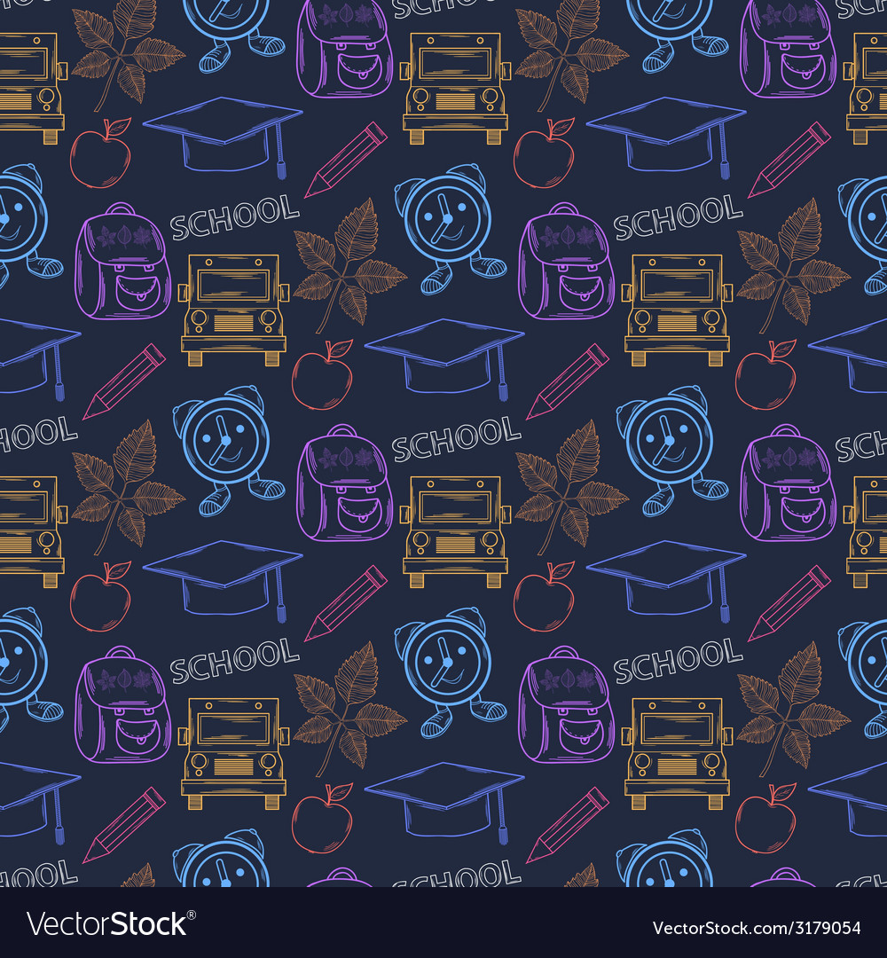 Seamless school patternwith thematic elements vector | Price: 1 Credit (USD $1)