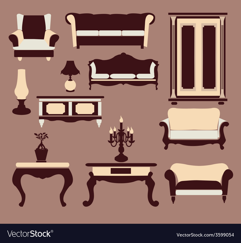 Vintage furniture interior icon vector | Price: 1 Credit (USD $1)