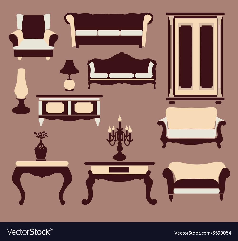 Vintage furniture interior icon vector