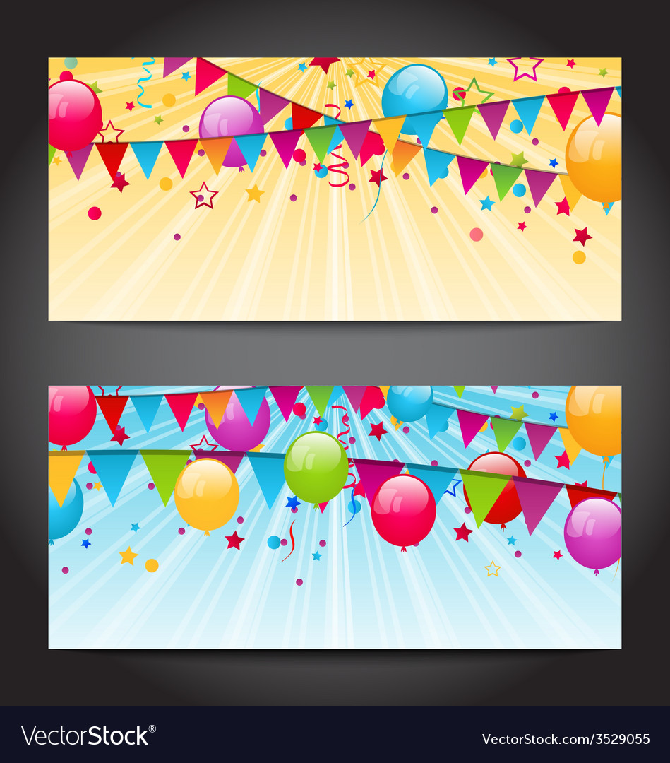 Abstract banners with colorful balloons hanging vector | Price: 1 Credit (USD $1)