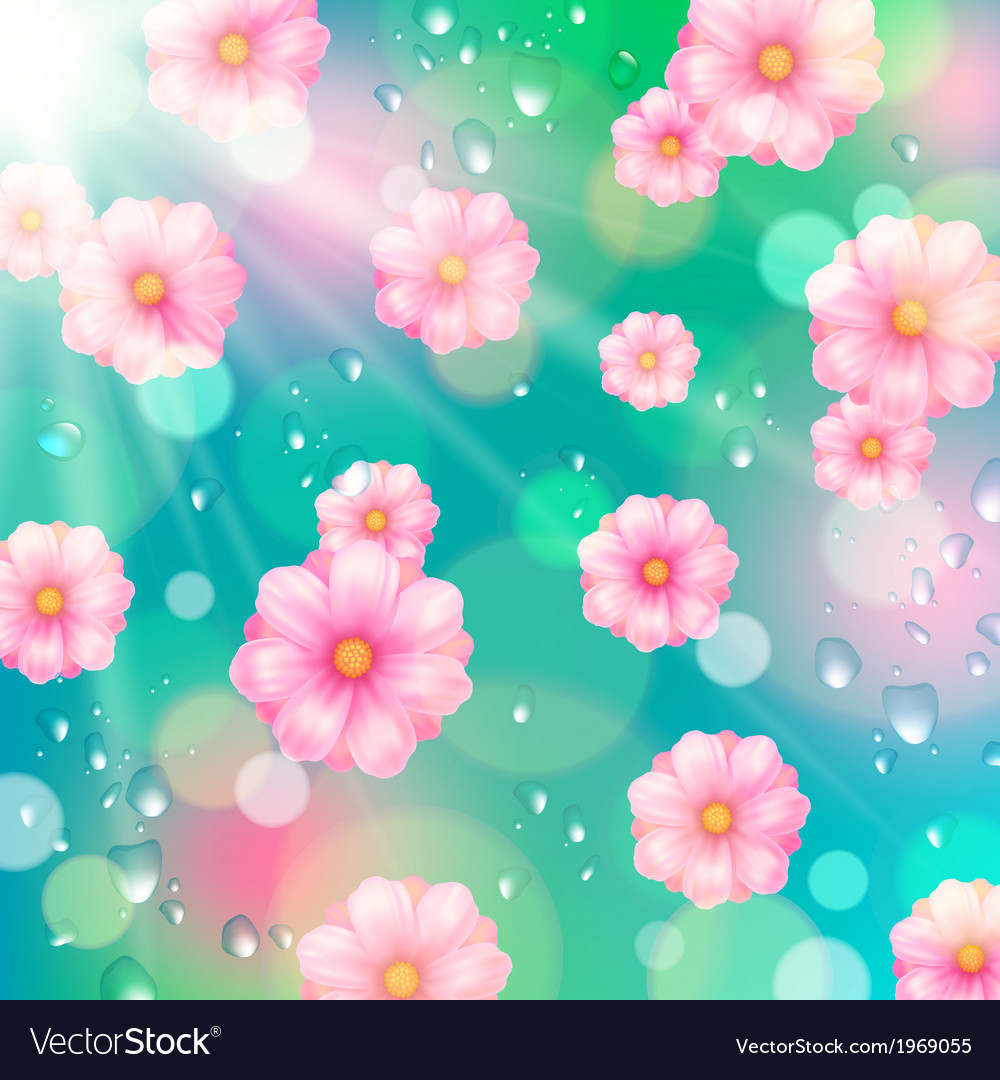 Background with pink spring flowers vector | Price: 1 Credit (USD $1)