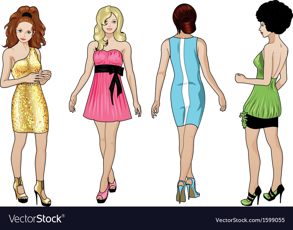 Beautiful girls in bright evening dresses 1 vector | Price: 1 Credit (USD $1)