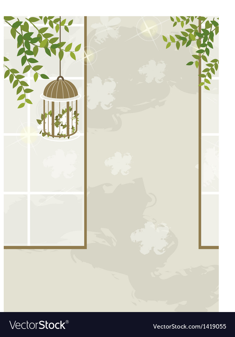 Bird cage leaves interior vector | Price: 1 Credit (USD $1)