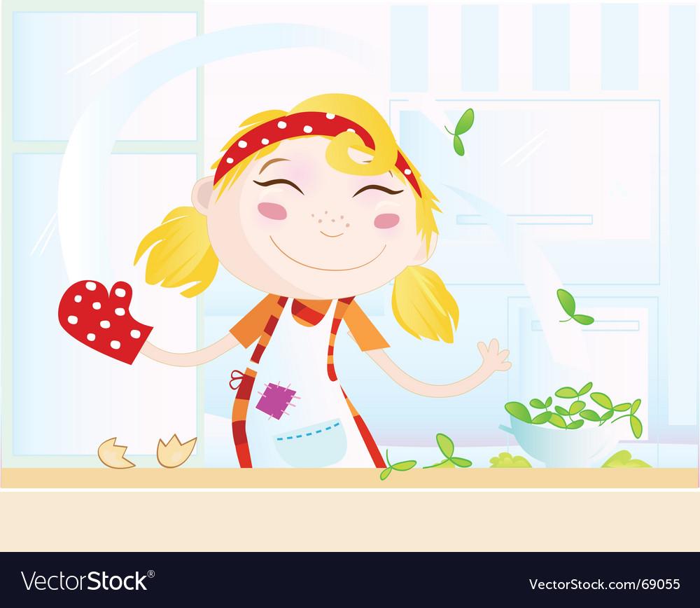Cartoon kitchen girl vector | Price: 3 Credit (USD $3)