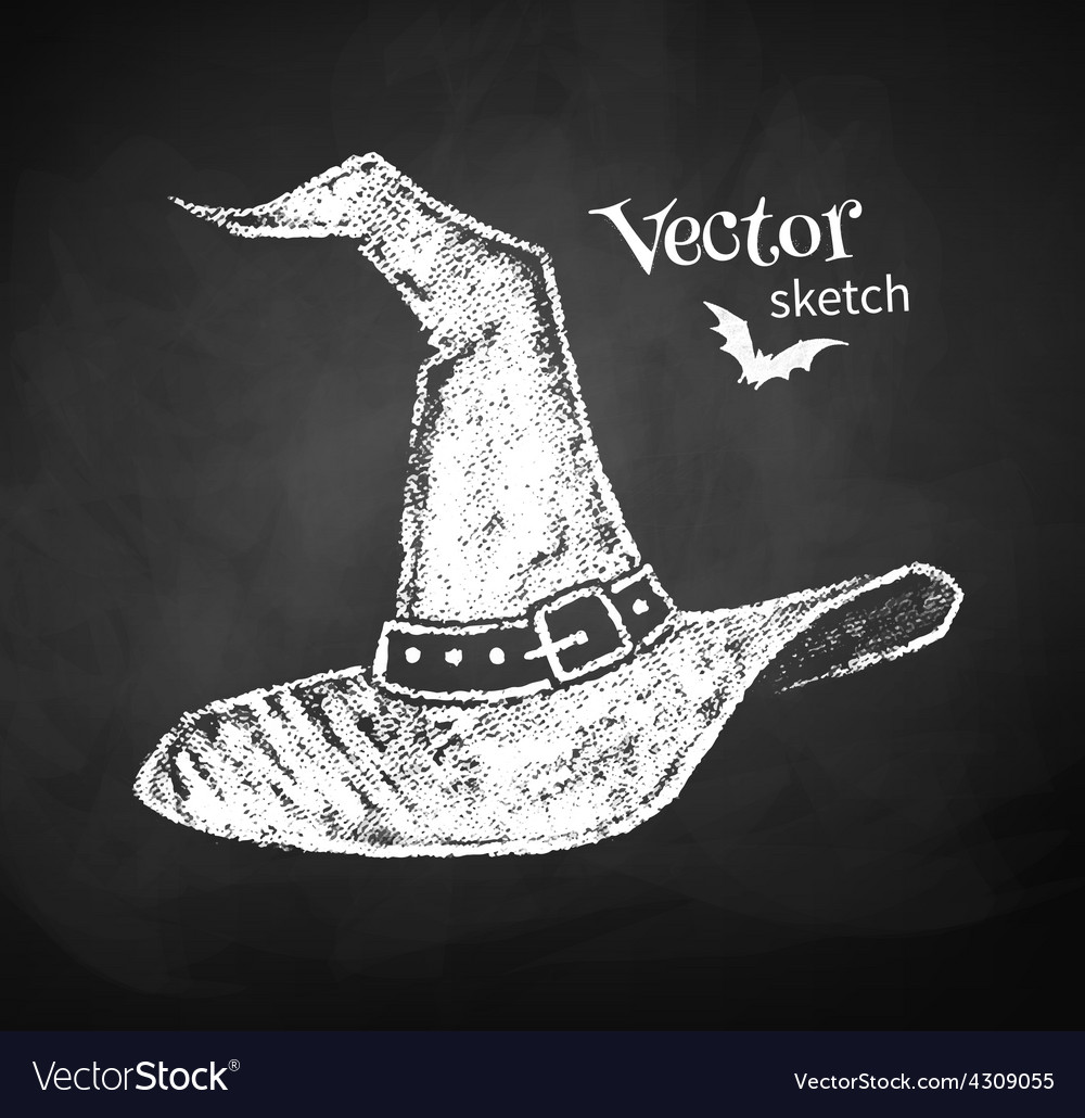 Chalkboard drawing of witches hat vector | Price: 1 Credit (USD $1)