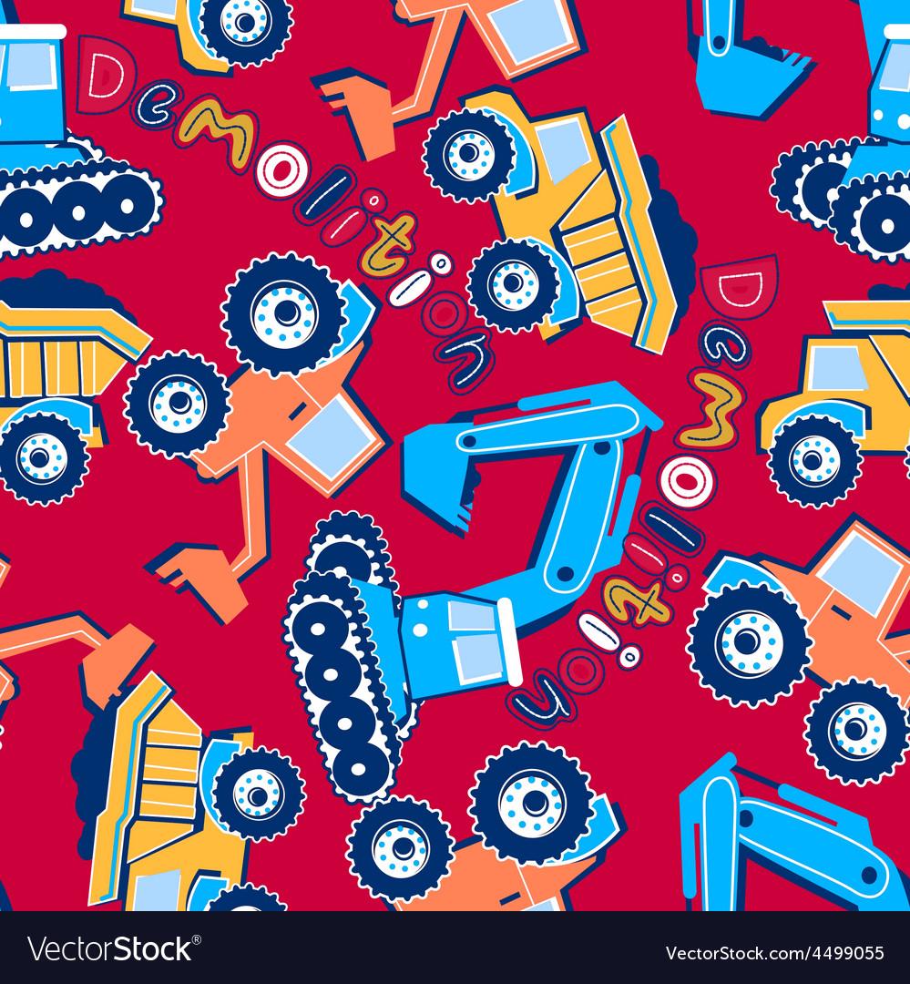 Demolition vehicles seamless pattern vector | Price: 1 Credit (USD $1)