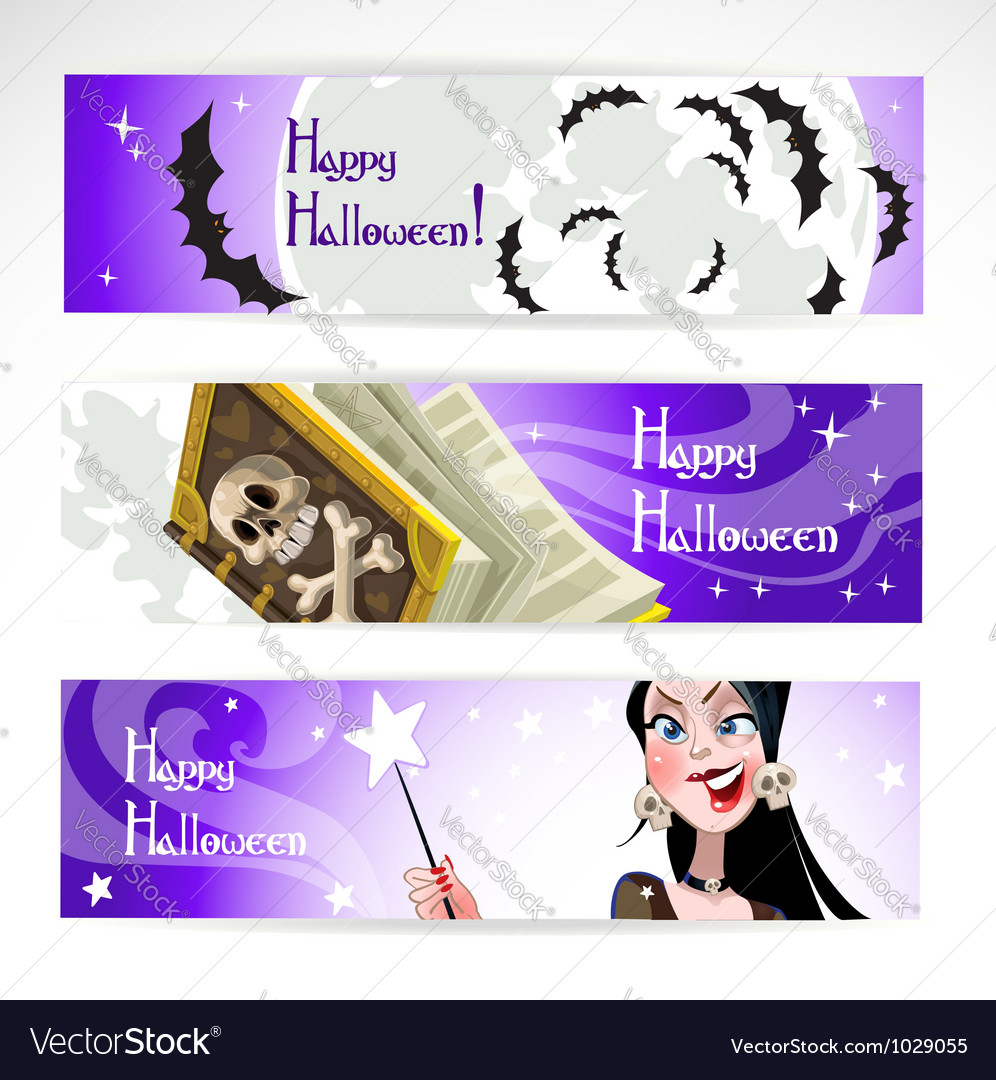 Happy halloween horizontal banner vector | Price: 3 Credit (USD $3)