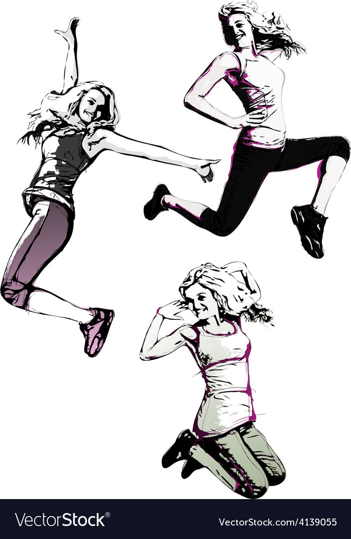 Jumping women vector | Price: 1 Credit (USD $1)