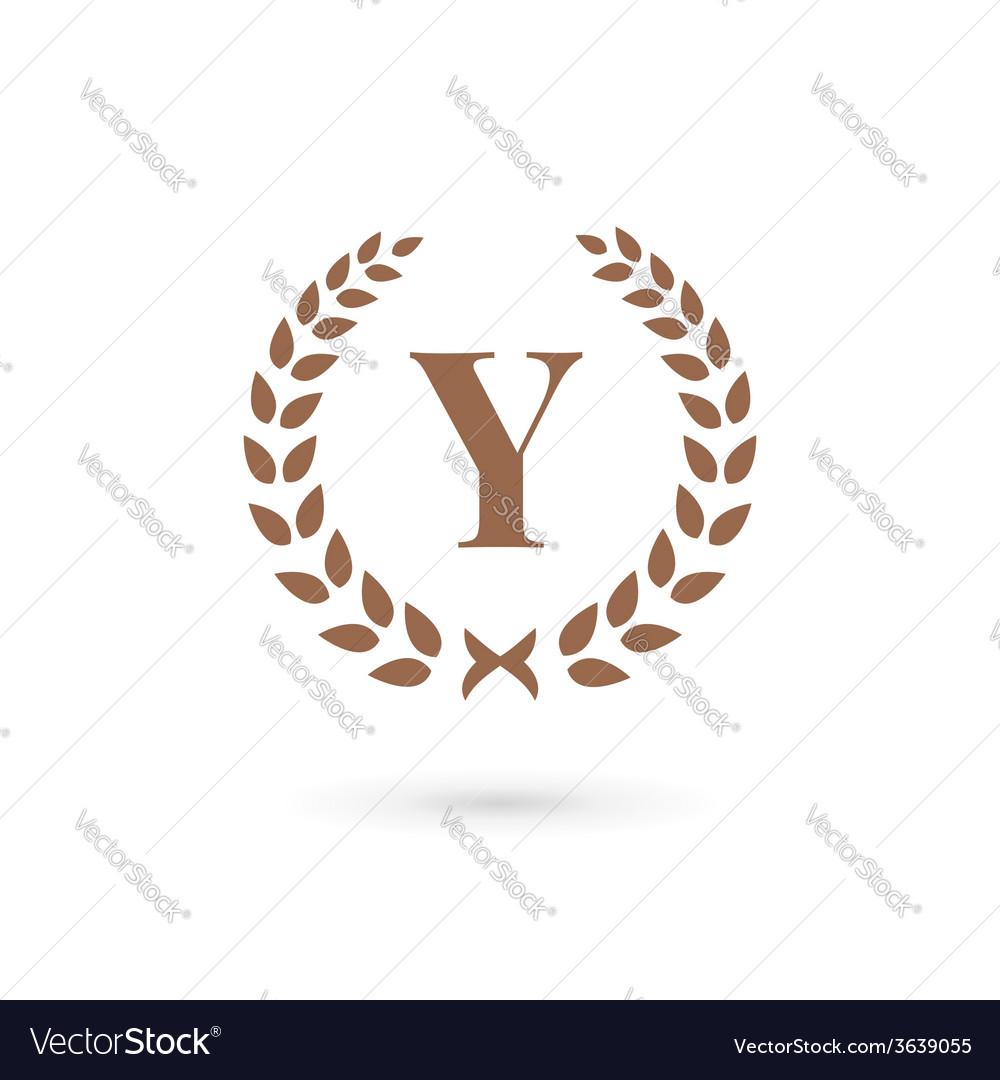 Letter y laurel wreath logo icon design template vector | Price: 1 Credit (USD $1)
