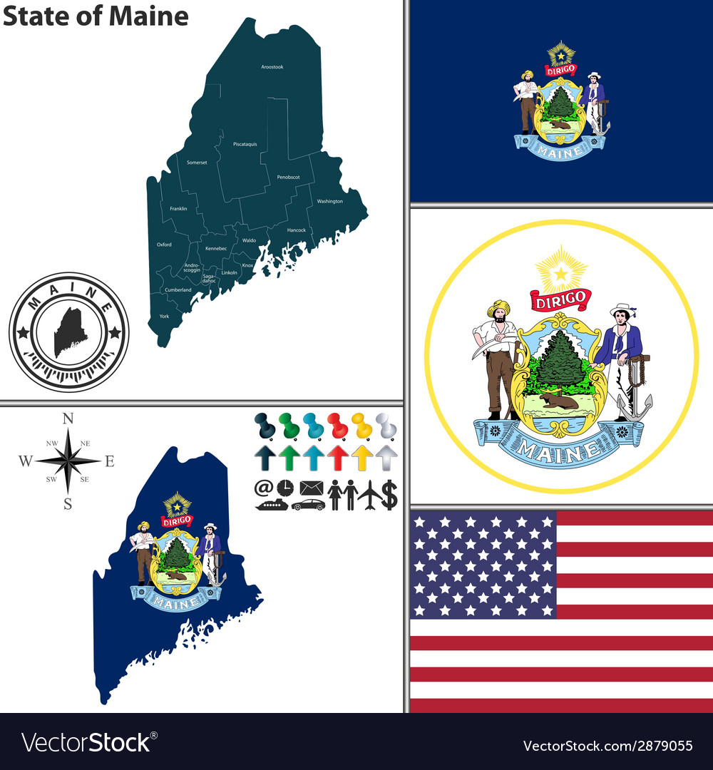 Map of maine with seal vector | Price: 1 Credit (USD $1)