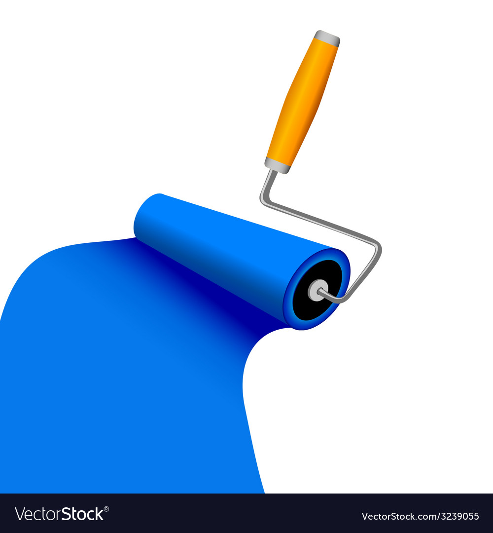 Paint roller with blue trace vector | Price: 1 Credit (USD $1)