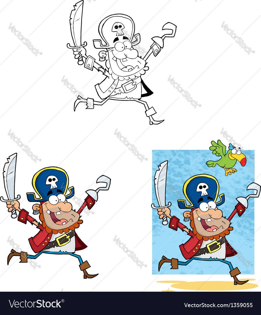 Pirate running with sword and hook collection vector | Price: 3 Credit (USD $3)