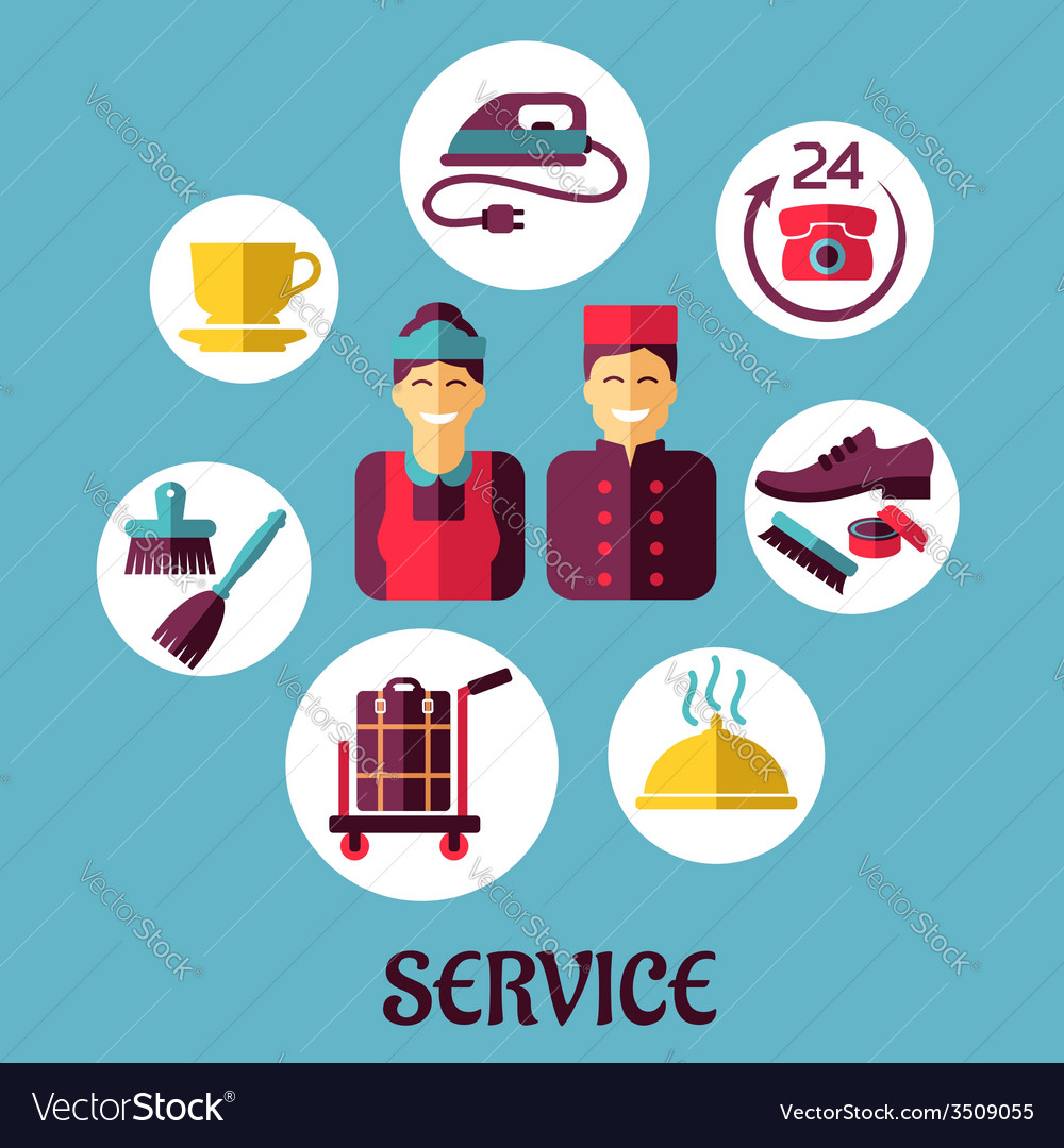 Room service flat design concept vector | Price: 1 Credit (USD $1)
