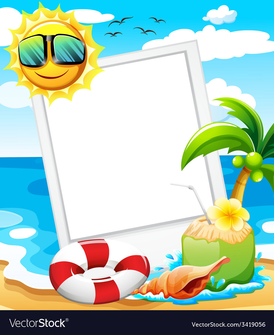An empty frame at the beach vector | Price: 1 Credit (USD $1)