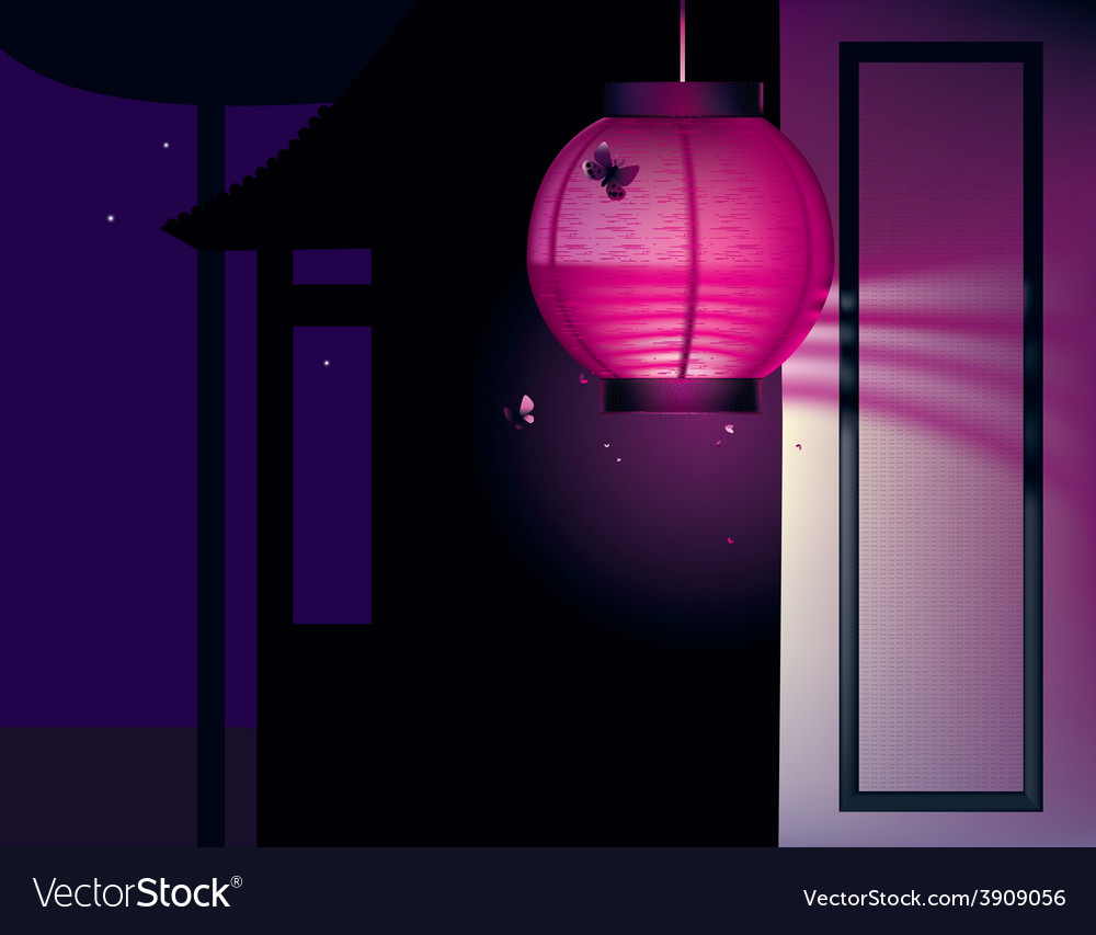 Asian house and paper lantern vector | Price: 1 Credit (USD $1)