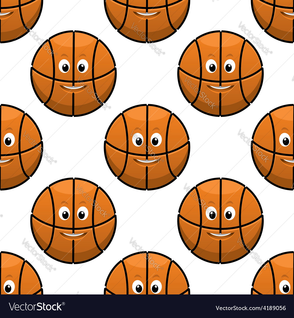 Basketball seamless pattern with funny balls vector | Price: 1 Credit (USD $1)