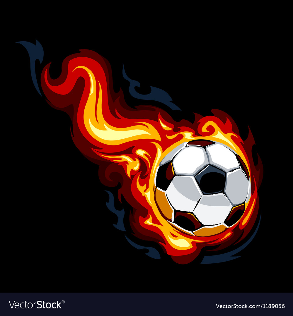 Burning soccer ball vector