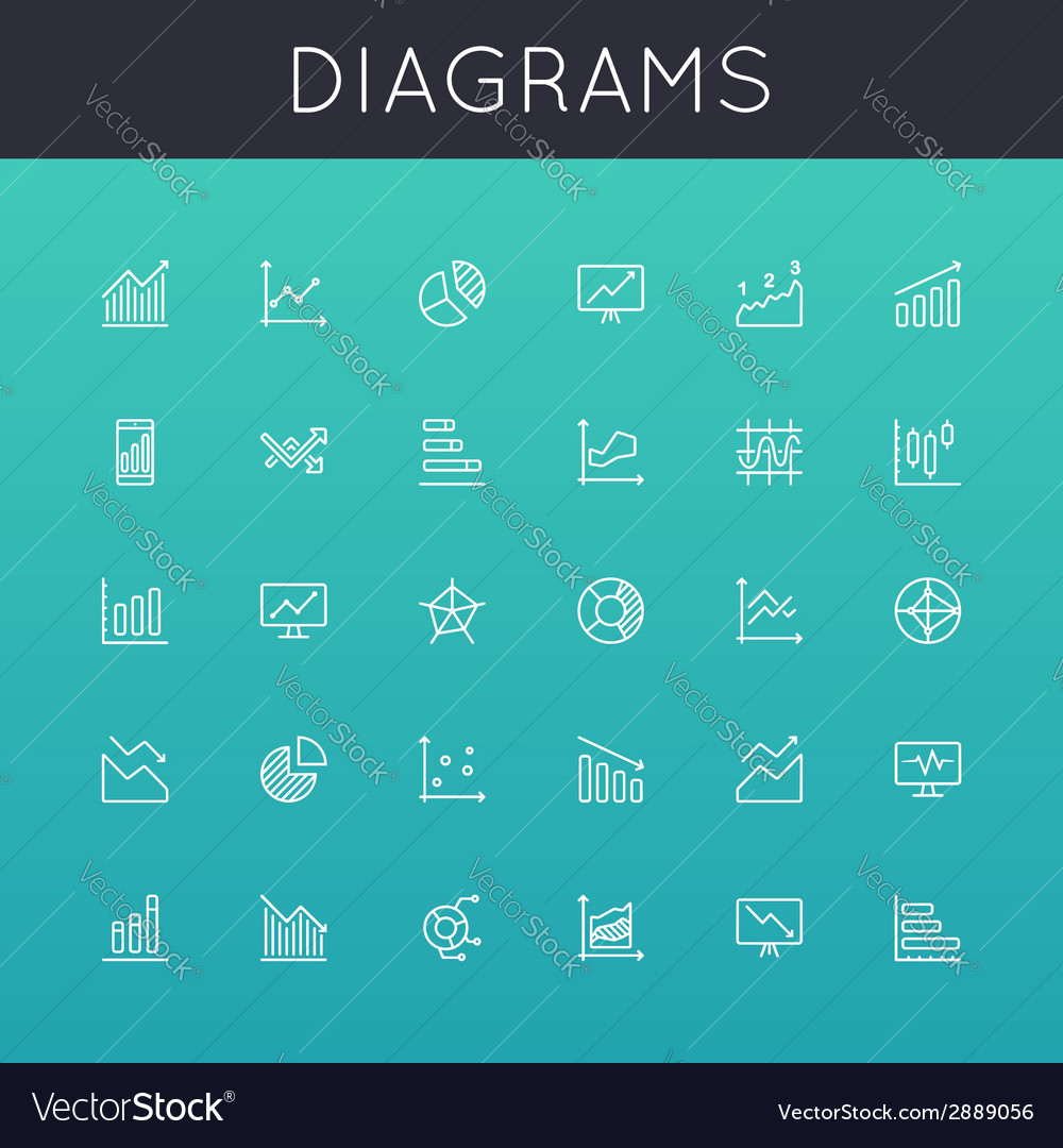 Diagrams line icons vector | Price: 1 Credit (USD $1)