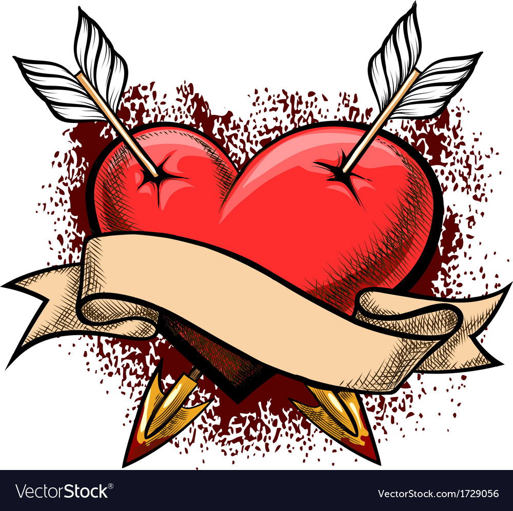 Heart pierced by arrows vector | Price: 1 Credit (USD $1)