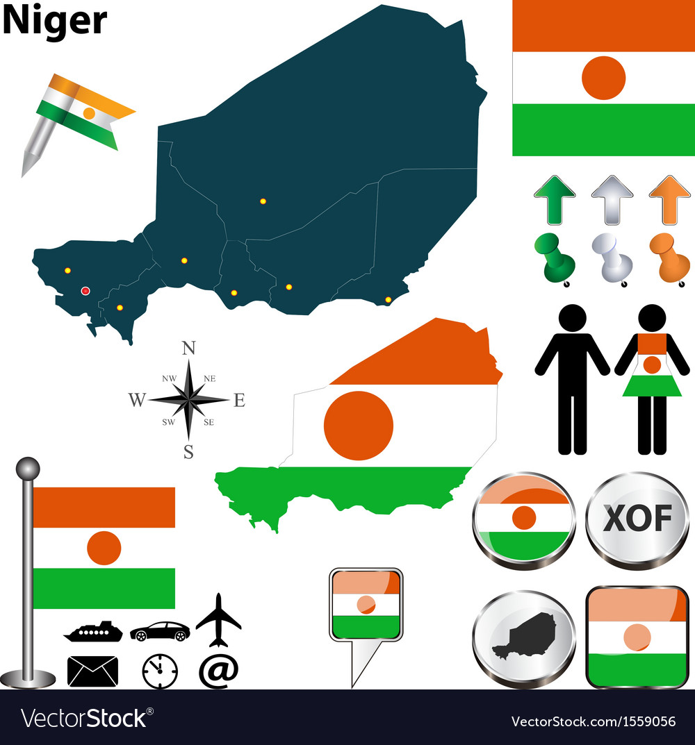 Niger map vector | Price: 1 Credit (USD $1)