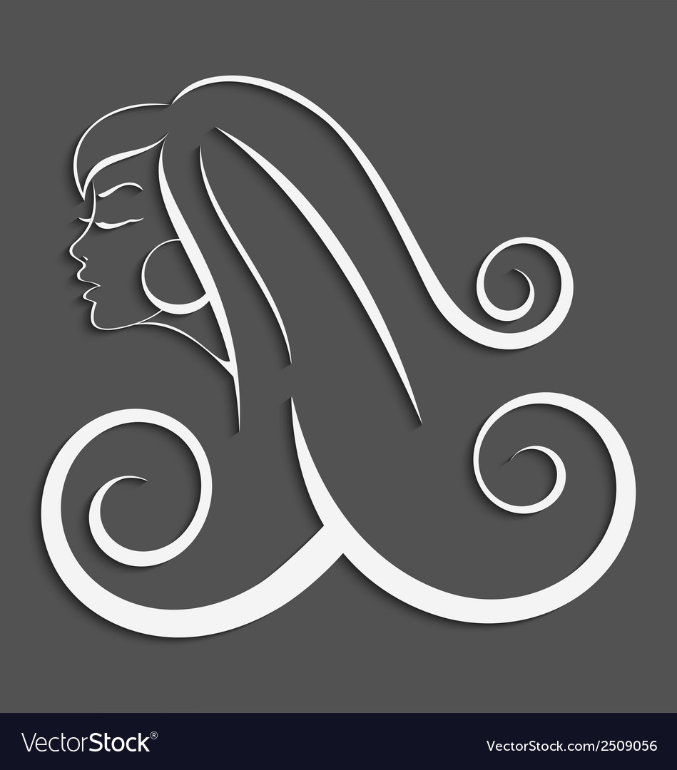 Outline girl curly hair cut out 3d vector | Price: 1 Credit (USD $1)