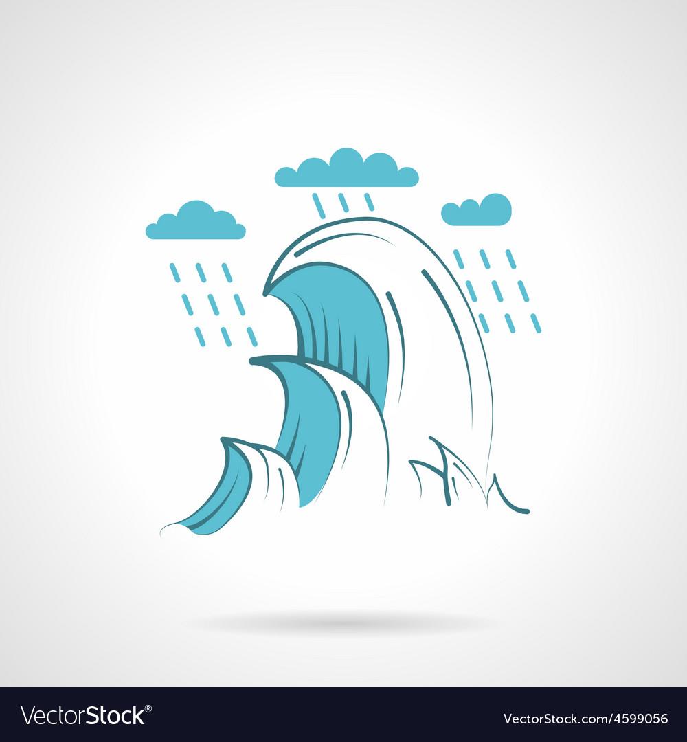 Sea waves flat icon vector   Price: 1 Credit (USD $1)