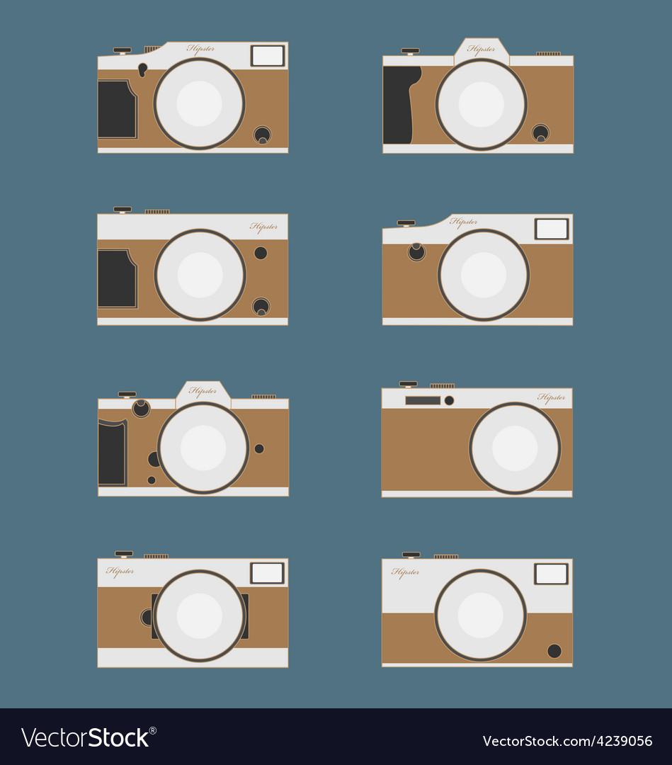 Set of vintage camera flat design vector | Price: 1 Credit (USD $1)