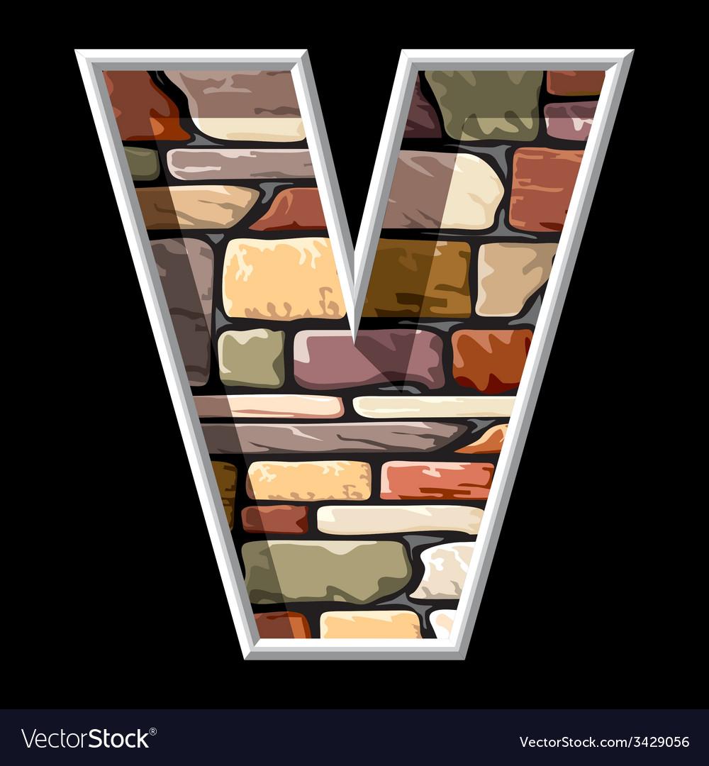 Stone letter v vector | Price: 1 Credit (USD $1)