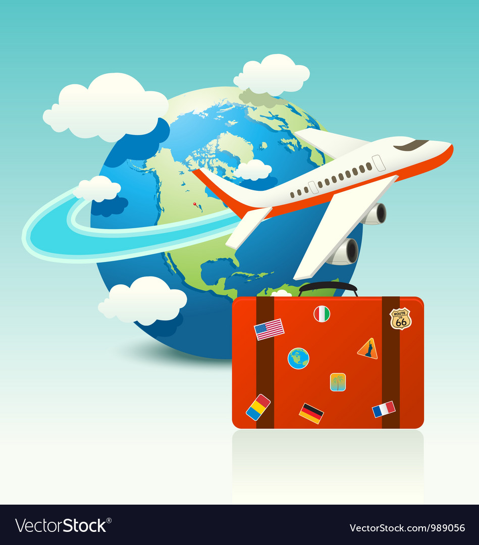 Travel icon with luggage vector | Price: 3 Credit (USD $3)