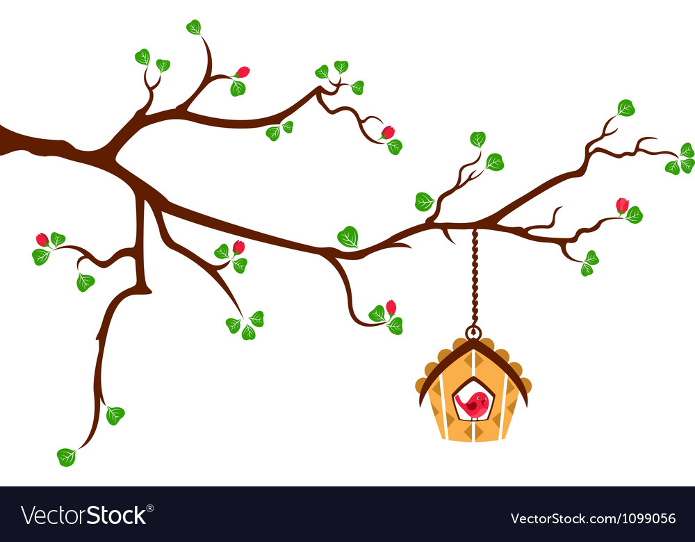Tree branch with hut style bird house vector | Price: 1 Credit (USD $1)