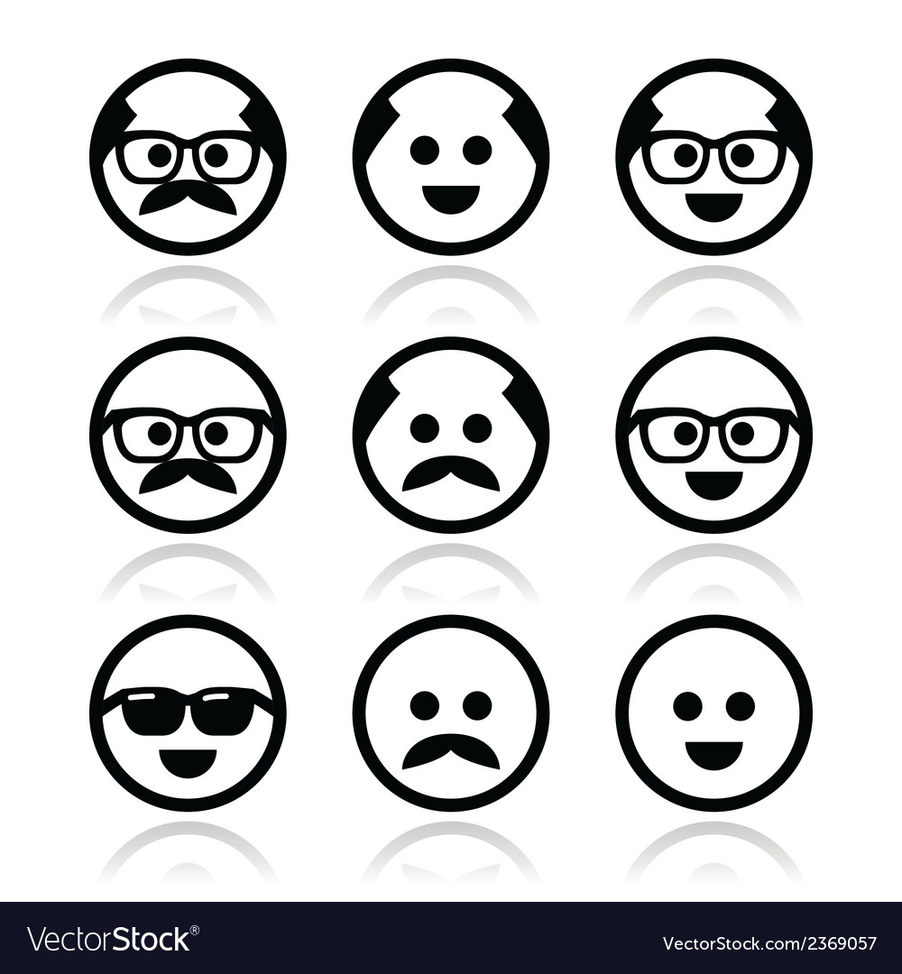 Bald man with mustache and in glasses faces icons vector   Price: 1 Credit (USD $1)