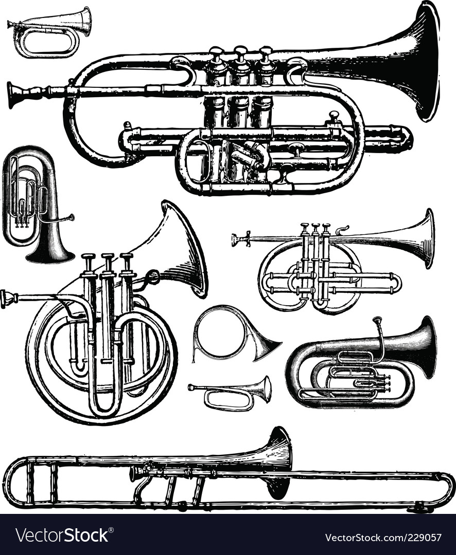 Brass instruments vector | Price: 1 Credit (USD $1)