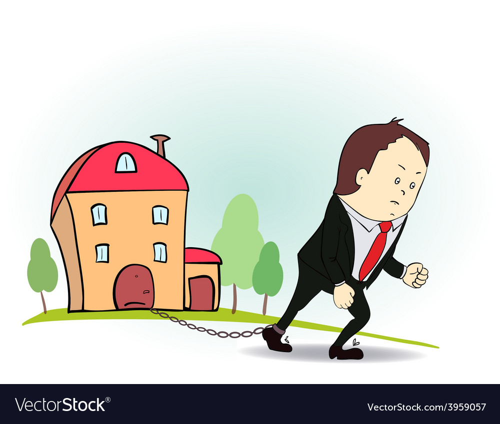 Cartoon character with iron chain and house vector | Price: 1 Credit (USD $1)