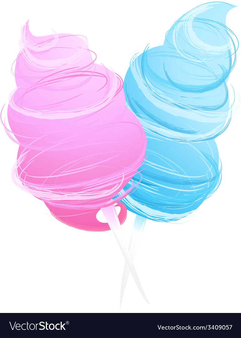Cotton sweet candy isolated on white vector