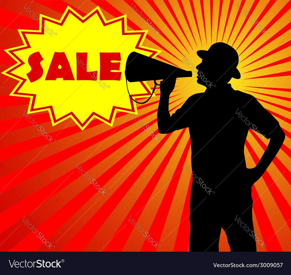 Man with megaphone vector | Price: 1 Credit (USD $1)