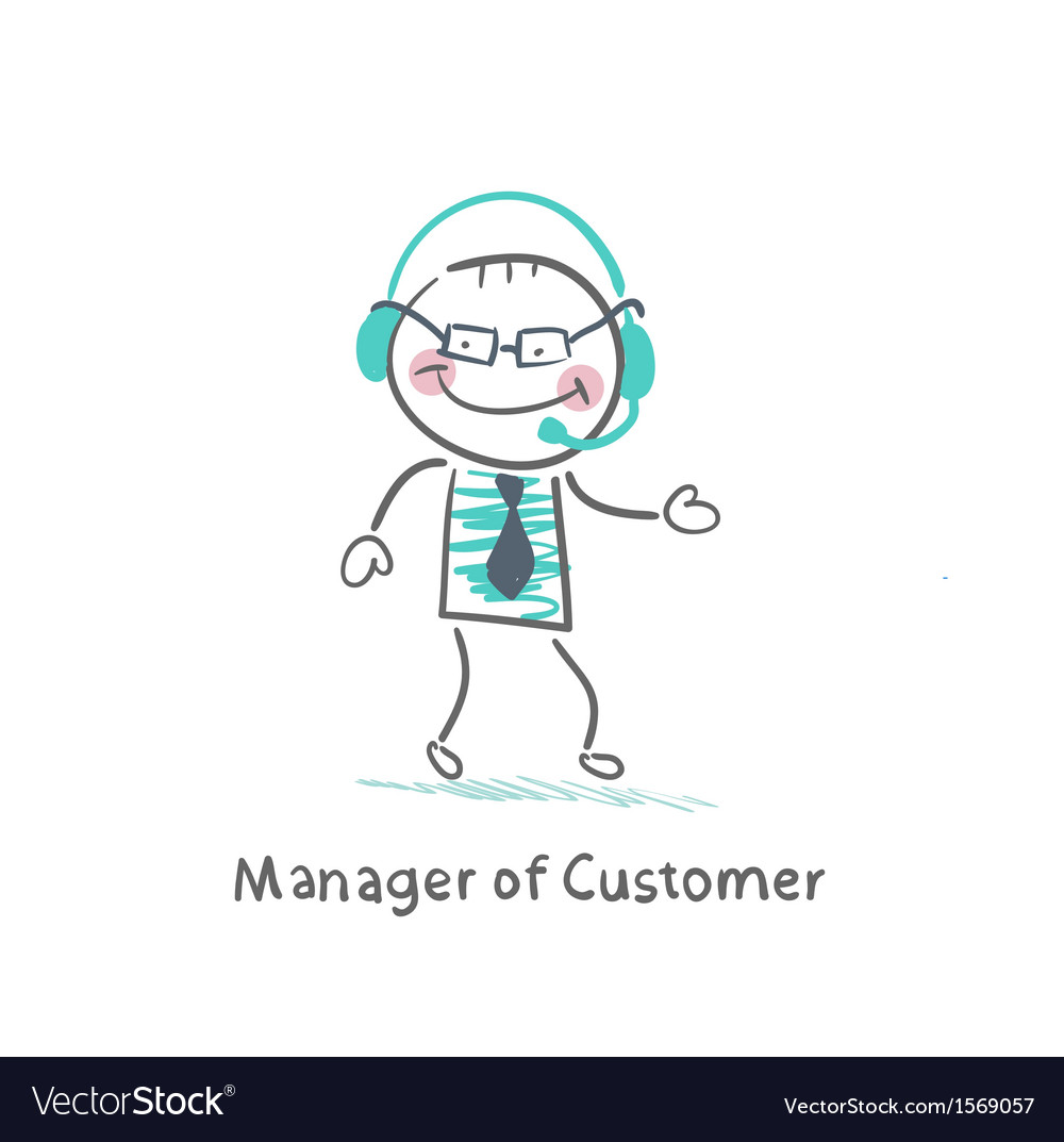 Manager customer manager with to headphones vector | Price: 1 Credit (USD $1)