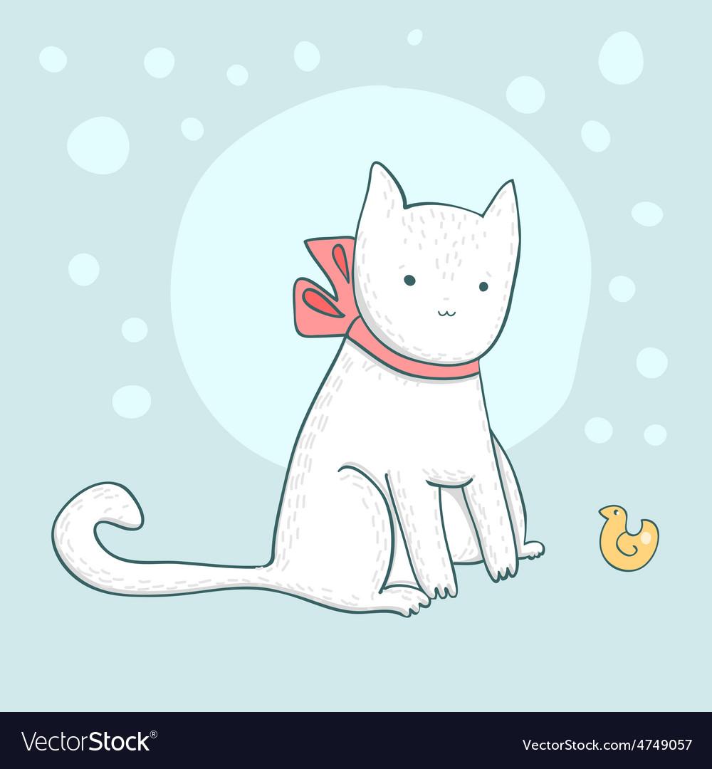 Nice white cat on light blue vector   Price: 1 Credit (USD $1)