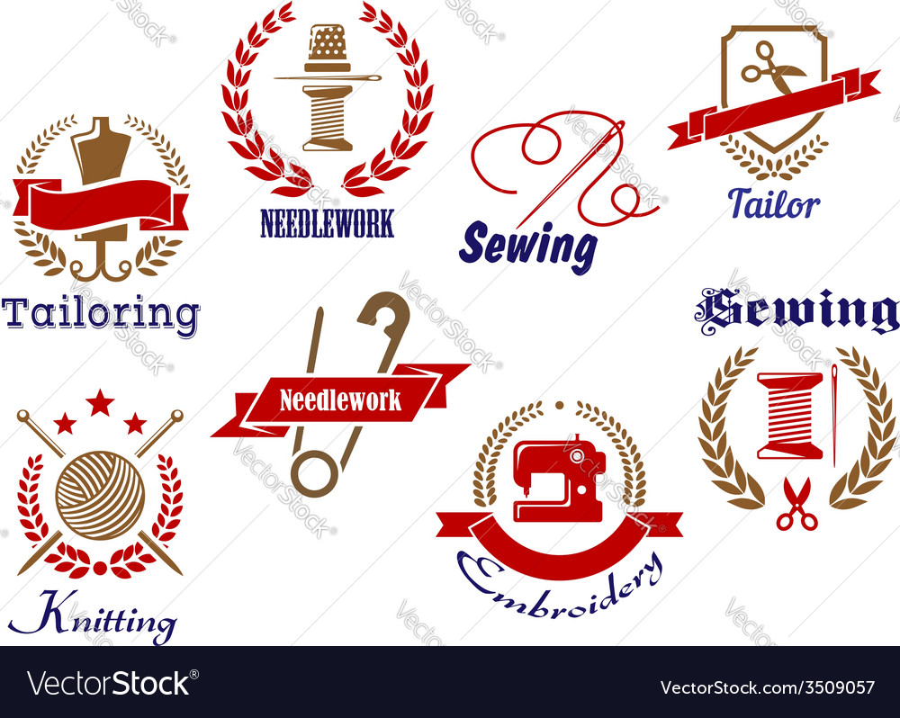 Retro needlework emblems icon set vector | Price: 1 Credit (USD $1)
